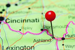 Ashland pinned on a map of Kentucky, USA Kuvituskuvat