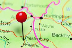 Prestonburg pinned on a map of Kentucky, USA Kuvituskuvat