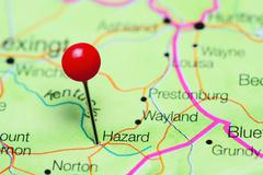 Hazard pinned on a map of Kentucky, USA Kuvituskuvat