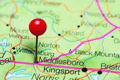 Middlesboro pinned on a map of Kentucky, USA Stock Photos
