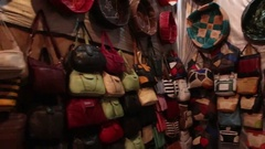 Tannery shop in Fez, Morocco Stock Footage