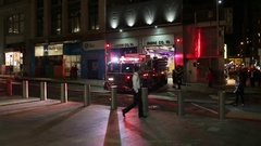 NYFD Fire Department Truck Entering Garage at Night in New York City Stock Footage