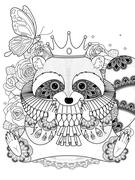 Adorable raccoon coloring page Stock Illustration