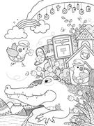 Cute alligator adult coloring page Stock Illustration