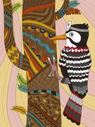 Woodpecker adult coloring page Stock Illustration