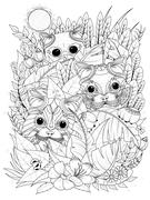 Wild kitties adult coloring page Stock Illustration