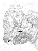 Rhino adult coloring page Stock Illustration