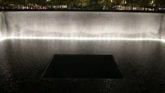 World Trade Center 911 Memorial at Night in Manhattan New York Stock Footage