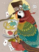 Magician parrot adult coloring page Stock Illustration