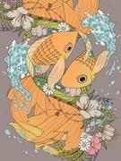 Elegant goldfish couple coloring page Stock Illustration