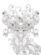 Floral deer adult coloring page Stock Illustration