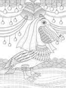 Adult coloring page with pelican Stock Illustration