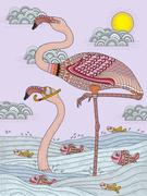 Adult coloring page with cranes Stock Illustration