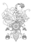 Swan adult coloring page Stock Illustration