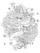 Mermaid adult coloring page Stock Illustration