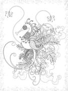 Adult coloring page with hippocampus Stock Illustration