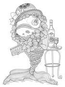 Goldfish adult coloring page Stock Illustration