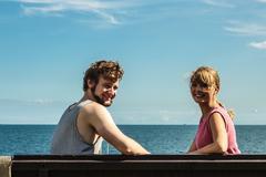 Couple man and woman dating outdoor. Stock Photos