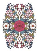 Flourish floral coloring page Stock Illustration