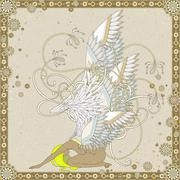 Attractive angel coloring page Stock Illustration