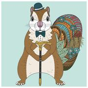 Adorable squirrel coloring page Stock Illustration