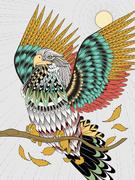 Flying eagle coloring page Stock Illustration