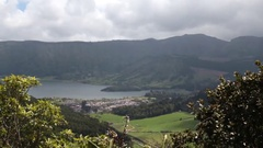 Beautiful town on lake - North Sao Miguel Stock Footage