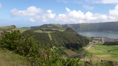 Beautiful town on lake - Sao Miguel Stock Footage