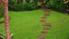 Rainy season in tropics. Zooming video of the stone path at garden after rain Stock Footage