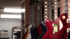 Pan close up les paul guitar Stock Footage