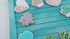 Ainted gingerbread. Homemade cookies for Christmas Stock Footage