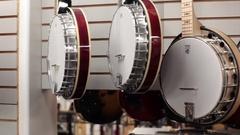 Pan row of banjos Stock Footage