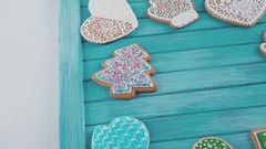 Dollyshot. Christmas gingerbread cookies on the table Stock Footage