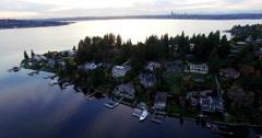 Medina Neighborhood Bellevue Washington Aerial View Seattle Skyline  Stock Footage