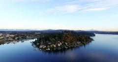Moorland Bellevue Lake Washington Aerial View Mt Rainier Background Stock Footage