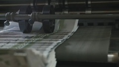 Printing Process on polygraph industry - brochures moving on the conveyor belt Stock Footage