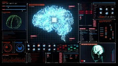 Brain connected CPU chip circuit in digital display, artificial intelligence Stock Footage