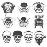 Set of the stickers with gangster skulls and weapon. Design elem Stock Illustration