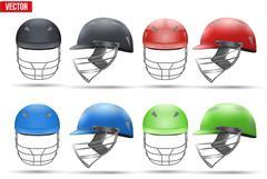 Set of Tradition Cricket Helmets Stock Illustration