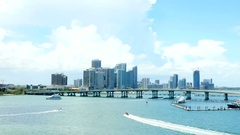 Miami Skyline from cruise ship perspective Stock Footage