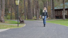 A guy carries in the hands of the Segway Stock Footage