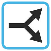 Bifurcation Arrow Right Glyph Icon In a Frame Stock Illustration