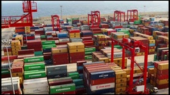 Container Yard at Port - Multiple boxes Stock Footage