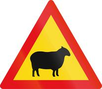 Temporary road sign used in the African country of Botswana - Sheep Stock Illustration