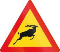 Temporary road sign used in the African country of Botswana - Antelope Stock Illustration