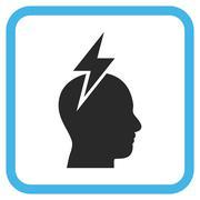 Headache Glyph Icon In a Frame Stock Illustration