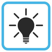 Light Bulb Glyph Icon In a Frame Stock Illustration