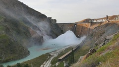 Kirov reservoir dam. (Built 1965 - 1975). Valley Talas, Kyrgyzstan Stock Footage