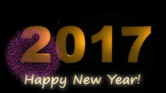 Happy new year 2017 gold text with fireworks Stock Footage