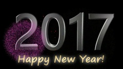Happy new year 2017 metalic text with fireworks Stock Footage
